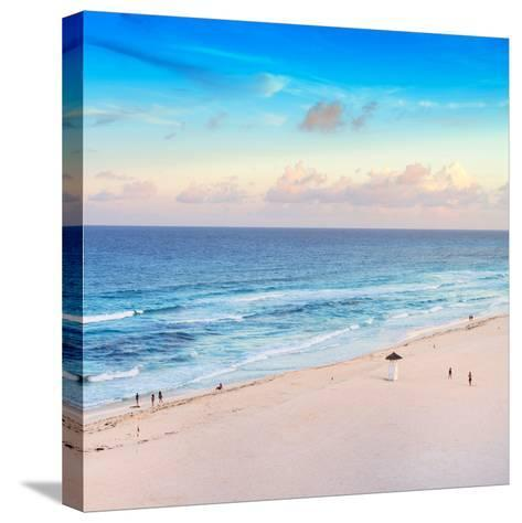 ¡Viva Mexico! Square Collection - Ocean View at Sunset in Cancun-Philippe Hugonnard-Stretched Canvas Print
