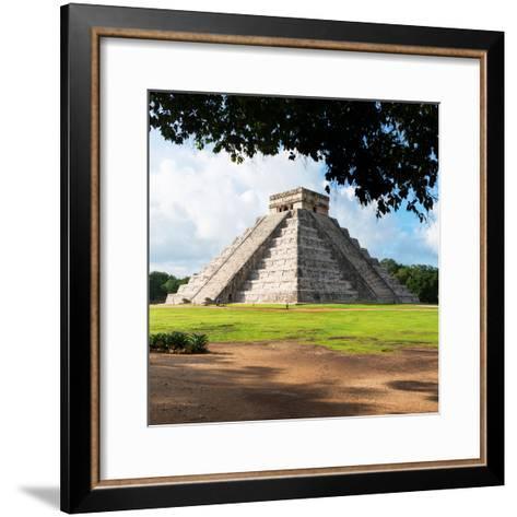 ¡Viva Mexico! Square Collection - El Castillo Pyramid in Chichen Itza IX-Philippe Hugonnard-Framed Art Print