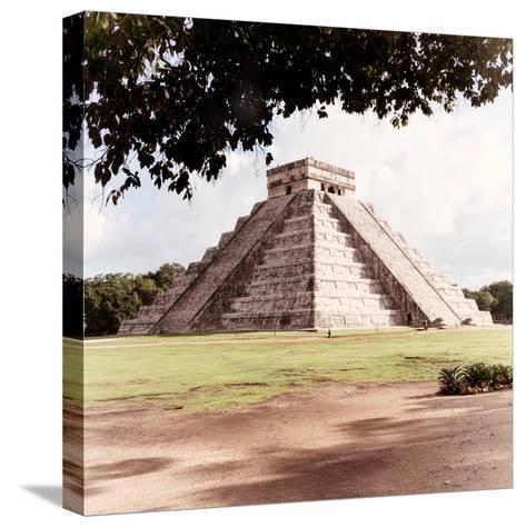 ¡Viva Mexico! Square Collection - El Castillo Pyramid - Chichen Itza II-Philippe Hugonnard-Stretched Canvas Print