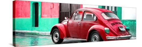 ¡Viva Mexico! Panoramic Collection - VW Beetle and Red Wall-Philippe Hugonnard-Stretched Canvas Print