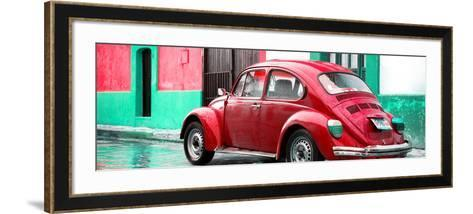 ¡Viva Mexico! Panoramic Collection - VW Beetle and Red Wall-Philippe Hugonnard-Framed Art Print