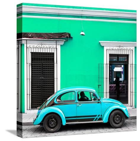 ¡Viva Mexico! Square Collection - VW Beetle Car - Coral Green & Skyblue-Philippe Hugonnard-Stretched Canvas Print