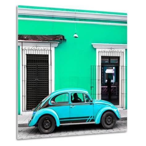 ¡Viva Mexico! Square Collection - VW Beetle Car - Coral Green & Skyblue-Philippe Hugonnard-Metal Print