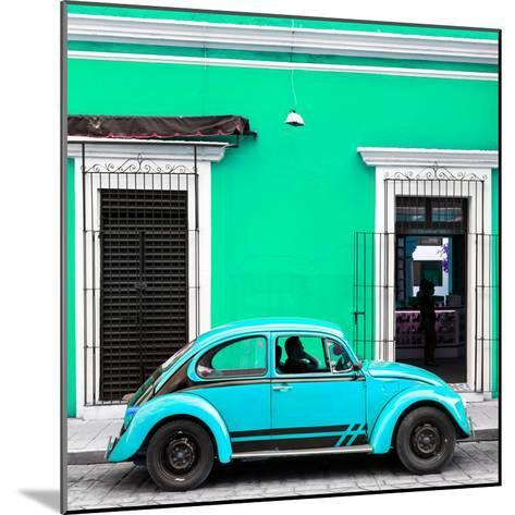 ¡Viva Mexico! Square Collection - VW Beetle Car - Coral Green & Skyblue-Philippe Hugonnard-Mounted Photographic Print