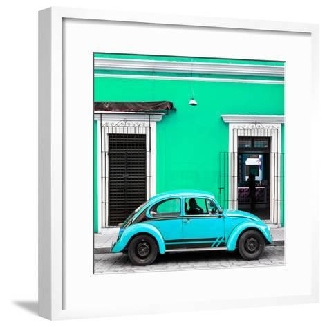 ¡Viva Mexico! Square Collection - VW Beetle Car - Coral Green & Skyblue-Philippe Hugonnard-Framed Art Print