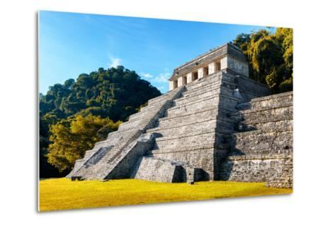 ?Viva Mexico! Collection - Mayan Temple of Inscriptions with Fall Colors - Palenque-Philippe Hugonnard-Metal Print