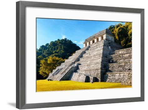?Viva Mexico! Collection - Mayan Temple of Inscriptions with Fall Colors - Palenque-Philippe Hugonnard-Framed Art Print