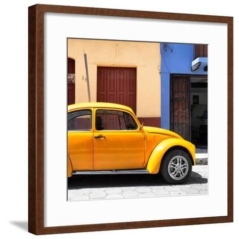 "¡Viva Mexico! Square Collection - ""15 Street"" Dark Yellow VW Beetle Car-Philippe Hugonnard-Framed Art Print"