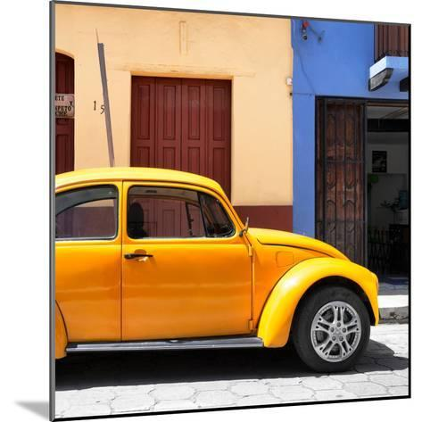 """¡Viva Mexico! Square Collection - """"15 Street"""" Dark Yellow VW Beetle Car-Philippe Hugonnard-Mounted Photographic Print"""