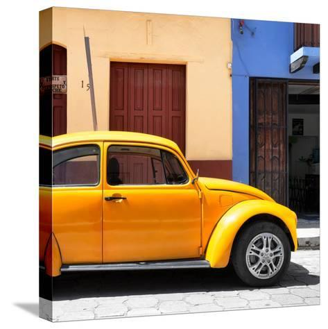 """¡Viva Mexico! Square Collection - """"15 Street"""" Dark Yellow VW Beetle Car-Philippe Hugonnard-Stretched Canvas Print"""