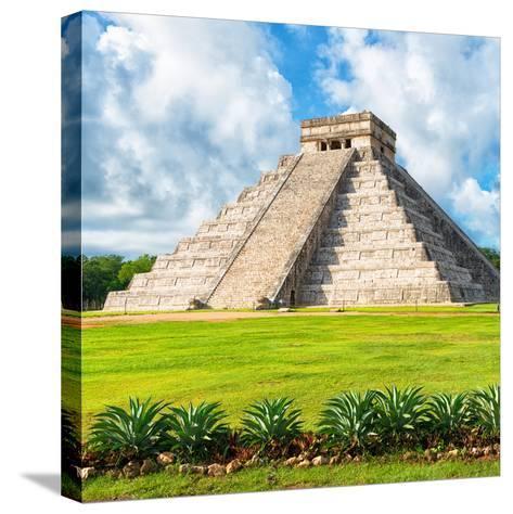 ?Viva Mexico! Square Collection - El Castillo Pyramid - Chichen Itza VIII-Philippe Hugonnard-Stretched Canvas Print