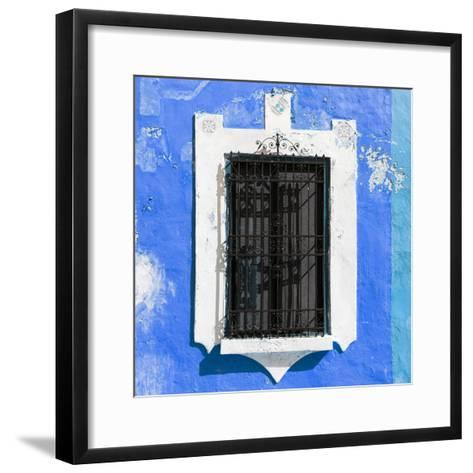 ¡Viva Mexico! Square Collection - Blue Wall & Black Window-Philippe Hugonnard-Framed Art Print