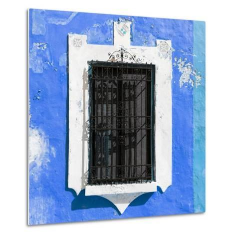 ¡Viva Mexico! Square Collection - Blue Wall & Black Window-Philippe Hugonnard-Metal Print