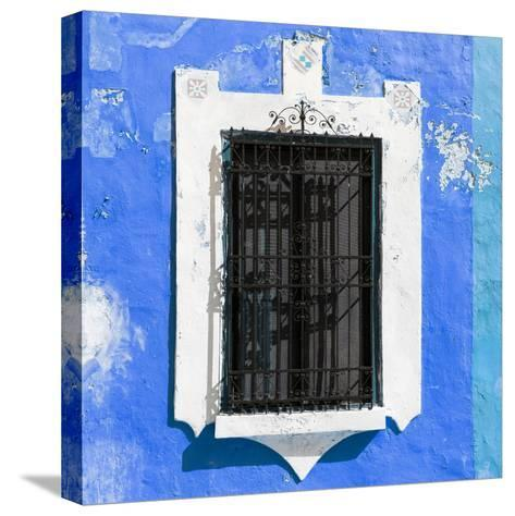¡Viva Mexico! Square Collection - Blue Wall & Black Window-Philippe Hugonnard-Stretched Canvas Print