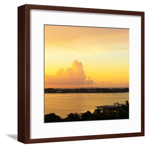 ?Viva Mexico! Square Collection - Sunset over Cancun-Philippe Hugonnard-Framed Art Print