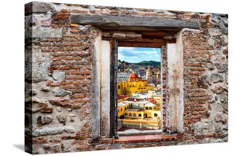 ?Viva Mexico! Window View - Church Domes in Guanajuato-Philippe Hugonnard-Stretched Canvas Print