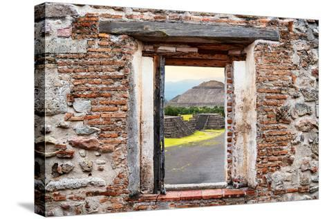 ¡Viva Mexico! Window View - Teotihuacan Pyramids-Philippe Hugonnard-Stretched Canvas Print