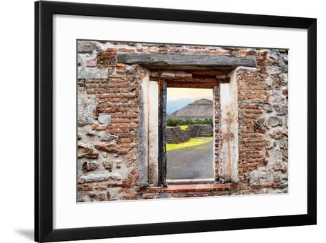 ¡Viva Mexico! Window View - Teotihuacan Pyramids-Philippe Hugonnard-Framed Art Print