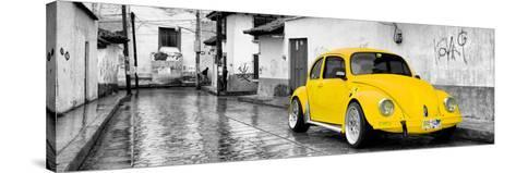 ¡Viva Mexico! Panoramic Collection - Yellow VW Beetle Car in San Cristobal de Las Casas-Philippe Hugonnard-Stretched Canvas Print