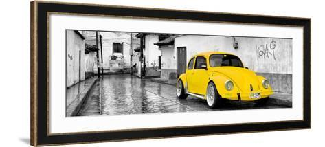¡Viva Mexico! Panoramic Collection - Yellow VW Beetle Car in San Cristobal de Las Casas-Philippe Hugonnard-Framed Art Print