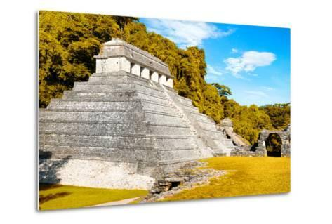 ¡Viva Mexico! Collection - The Temple of the Inscription with Fall Colors - Palenque-Philippe Hugonnard-Metal Print