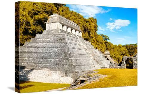 ¡Viva Mexico! Collection - The Temple of the Inscription with Fall Colors - Palenque-Philippe Hugonnard-Stretched Canvas Print