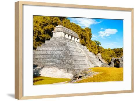 ¡Viva Mexico! Collection - The Temple of the Inscription with Fall Colors - Palenque-Philippe Hugonnard-Framed Art Print