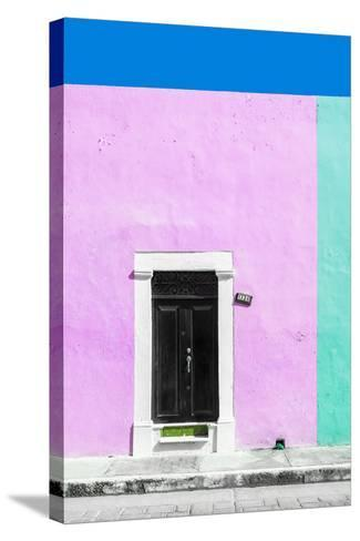 ¡Viva Mexico! Collection - 124 Street Campeche - Thistle & Coral Green Wall-Philippe Hugonnard-Stretched Canvas Print