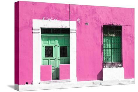 ¡Viva Mexico! Collection - 130 Street Campeche - Hot Pink Wall-Philippe Hugonnard-Stretched Canvas Print