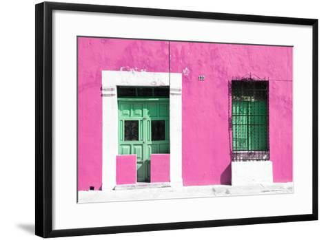 ¡Viva Mexico! Collection - 130 Street Campeche - Hot Pink Wall-Philippe Hugonnard-Framed Art Print