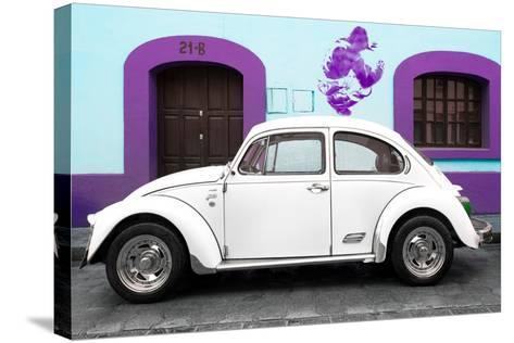 ¡Viva Mexico! Collection - White VW Beetle Car and Purple Graffiti-Philippe Hugonnard-Stretched Canvas Print