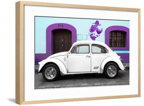 ¡Viva Mexico! Collection - White VW Beetle Car and Purple Graffiti-Philippe Hugonnard-Framed Art Print