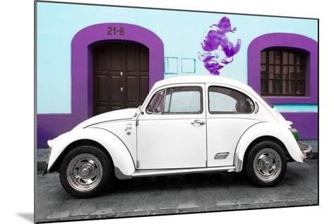 ¡Viva Mexico! Collection - White VW Beetle Car and Purple Graffiti-Philippe Hugonnard-Mounted Photographic Print