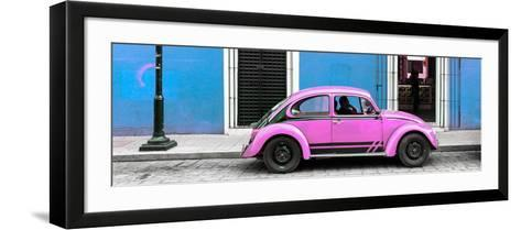 ¡Viva Mexico! Panoramic Collection - VW Beetle Car - Blue & Pink-Philippe Hugonnard-Framed Art Print
