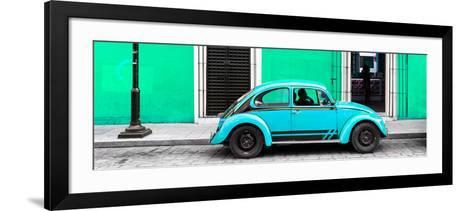 ¡Viva Mexico! Panoramic Collection - VW Beetle Car - Coral Green & Turquoise-Philippe Hugonnard-Framed Art Print