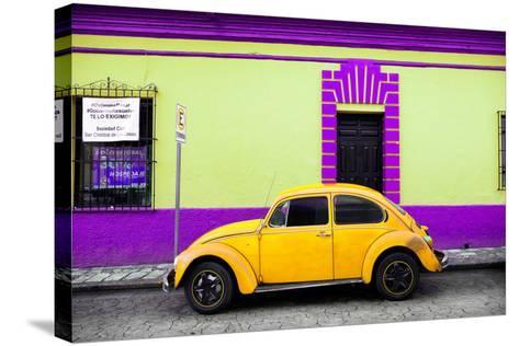 ?Viva Mexico! Collection - Classic Yellow VW Beetle Car and Colorful Wall-Philippe Hugonnard-Stretched Canvas Print