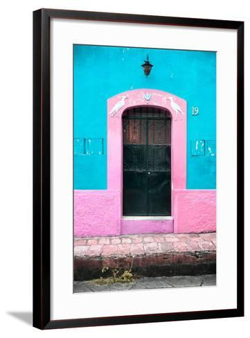 ¡Viva Mexico! Collection - 19e Door and Light Blue Wall-Philippe Hugonnard-Framed Art Print