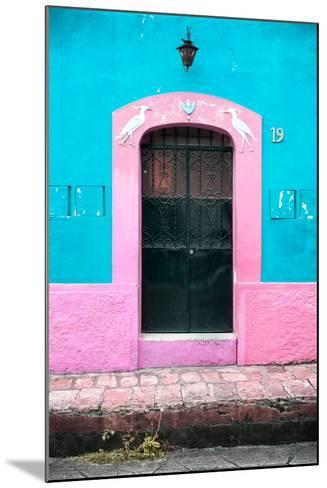 ¡Viva Mexico! Collection - 19e Door and Light Blue Wall-Philippe Hugonnard-Mounted Photographic Print