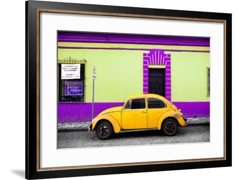 ?Viva Mexico! Collection - Classic Yellow VW Beetle Car and Colorful Wall-Philippe Hugonnard-Framed Art Print