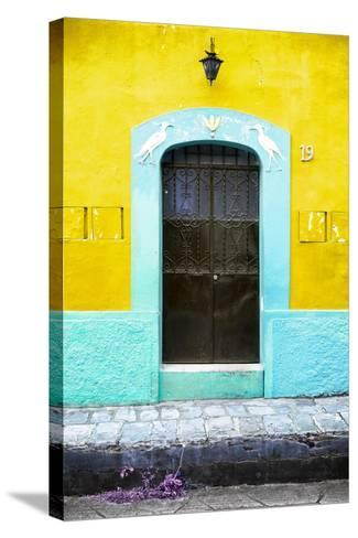 ¡Viva Mexico! Collection - 19e Door and Yellow Wall-Philippe Hugonnard-Stretched Canvas Print
