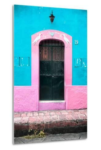 ¡Viva Mexico! Collection - 19e Door and Light Blue Wall-Philippe Hugonnard-Metal Print