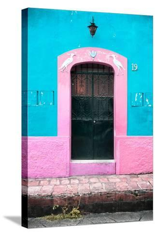 ¡Viva Mexico! Collection - 19e Door and Light Blue Wall-Philippe Hugonnard-Stretched Canvas Print
