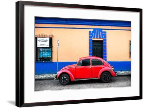 ?Viva Mexico! Collection - Classic Red VW Beetle Car and Colorful Wall-Philippe Hugonnard-Framed Art Print