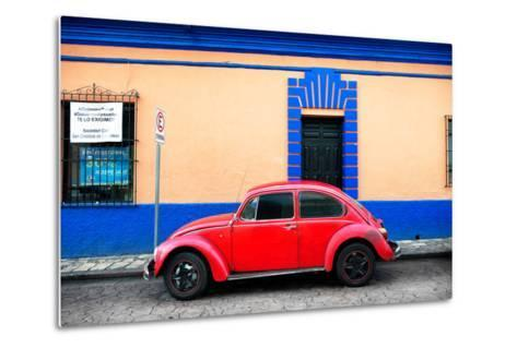 ?Viva Mexico! Collection - Classic Red VW Beetle Car and Colorful Wall-Philippe Hugonnard-Metal Print