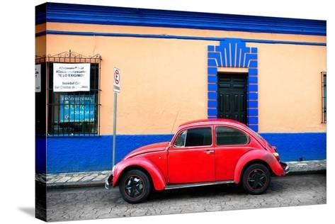 ?Viva Mexico! Collection - Classic Red VW Beetle Car and Colorful Wall-Philippe Hugonnard-Stretched Canvas Print