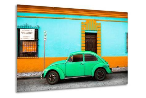 ¡Viva Mexico! Collection - Classic Green VW Beetle Car and Colorful Wall-Philippe Hugonnard-Metal Print