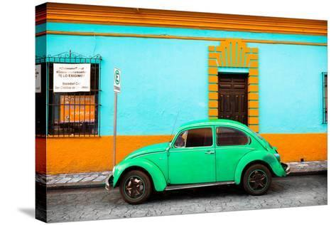 ¡Viva Mexico! Collection - Classic Green VW Beetle Car and Colorful Wall-Philippe Hugonnard-Stretched Canvas Print