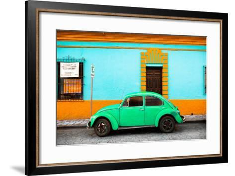 ¡Viva Mexico! Collection - Classic Green VW Beetle Car and Colorful Wall-Philippe Hugonnard-Framed Art Print