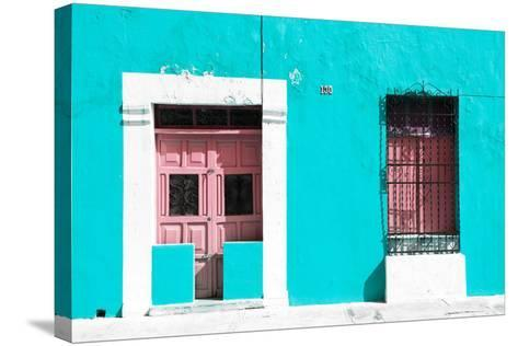 ¡Viva Mexico! Collection - 130 Street Campeche - Turquoise Wall-Philippe Hugonnard-Stretched Canvas Print
