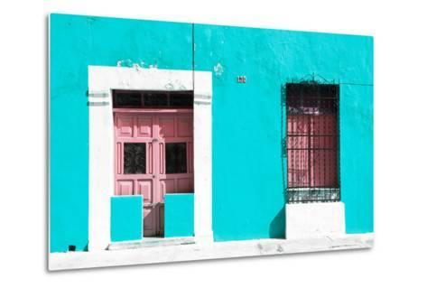 ¡Viva Mexico! Collection - 130 Street Campeche - Turquoise Wall-Philippe Hugonnard-Metal Print